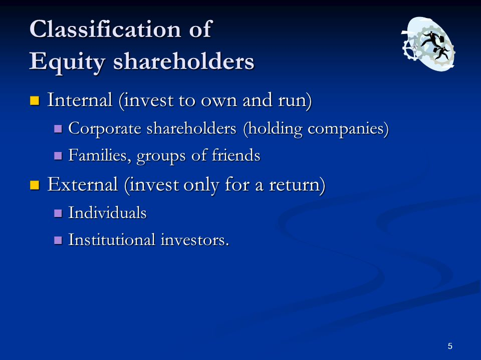 6 Internal Shareholders Controlling shareholders Controlling shareholders Majority not a necessity Majority not a necessity Scene in the West Scene in the West Situation in Pakistan Situation in Pakistan