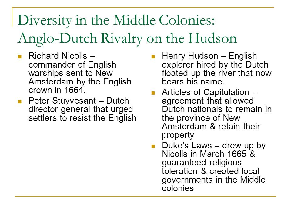 Diversity in the Middle Colonies: Anglo-Dutch Rivalry on the Hudson Richard Nicolls – commander of English warships sent to New Amsterdam by the Engli