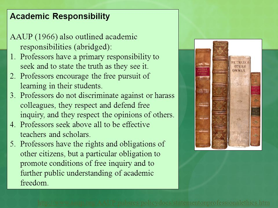 http://www.aaup.org/AAUP/pubsres/policydocs/statementonprofessionalethics.htm Academic Responsibility AAUP (1966) also outlined academic responsibilit