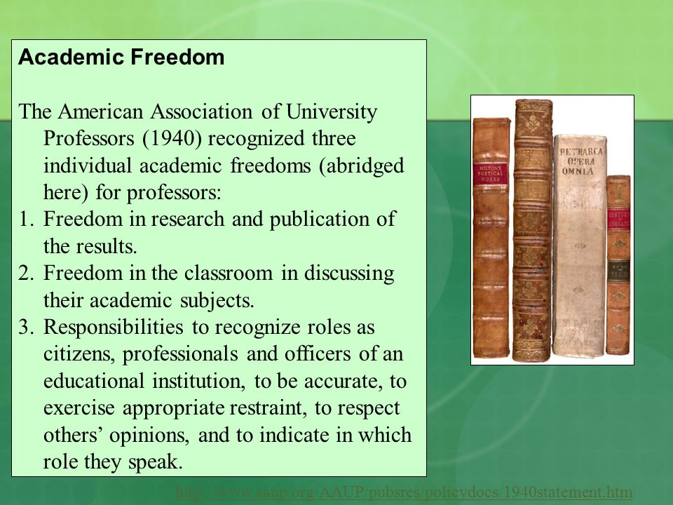http://www.aaup.org/AAUP/pubsres/policydocs/1940statement.htm Academic Freedom The American Association of University Professors (1940) recognized three individual academic freedoms (abridged here) for professors: 1.Freedom in research and publication of the results.