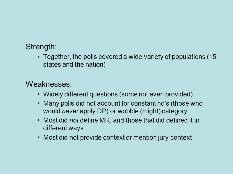 Strength: Together, the polls covered a wide variety of populations (15 states and the nation) Weaknesses: Widely different questions (some not even provided) Many polls did not account for constant no's (those who would never apply DP) or wobble (might) category Most did not define MR, and those that did defined it in different ways Most did not provide context or mention jury context