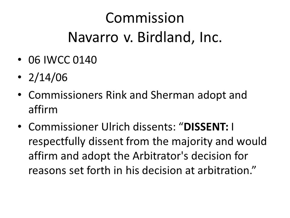 Commission Navarro v. Birdland, Inc.