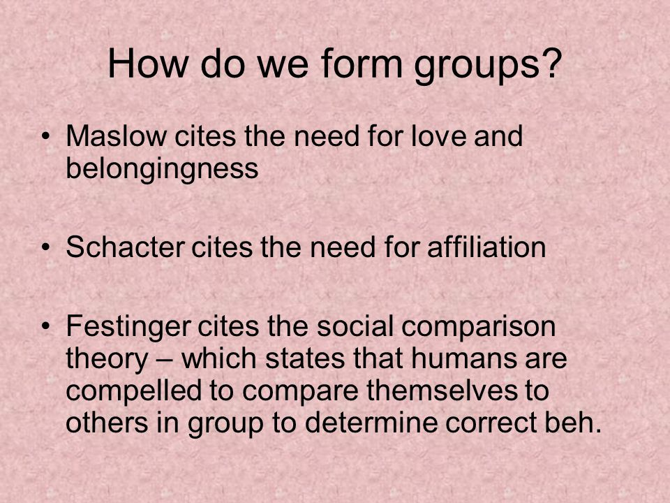 How do we form groups.