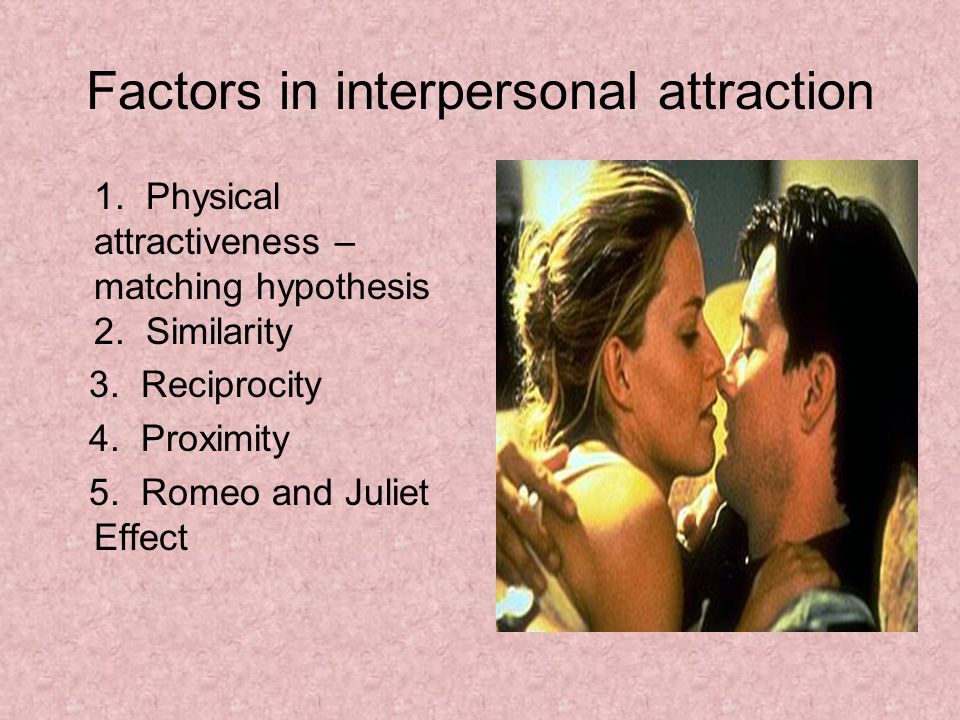 Factors in interpersonal attraction 1. Physical attractiveness – matching hypothesis 2.