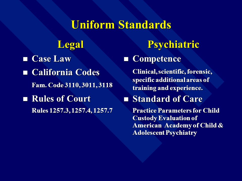 Uniform Standards Legal Case Law Case Law California Codes California Codes Fam.