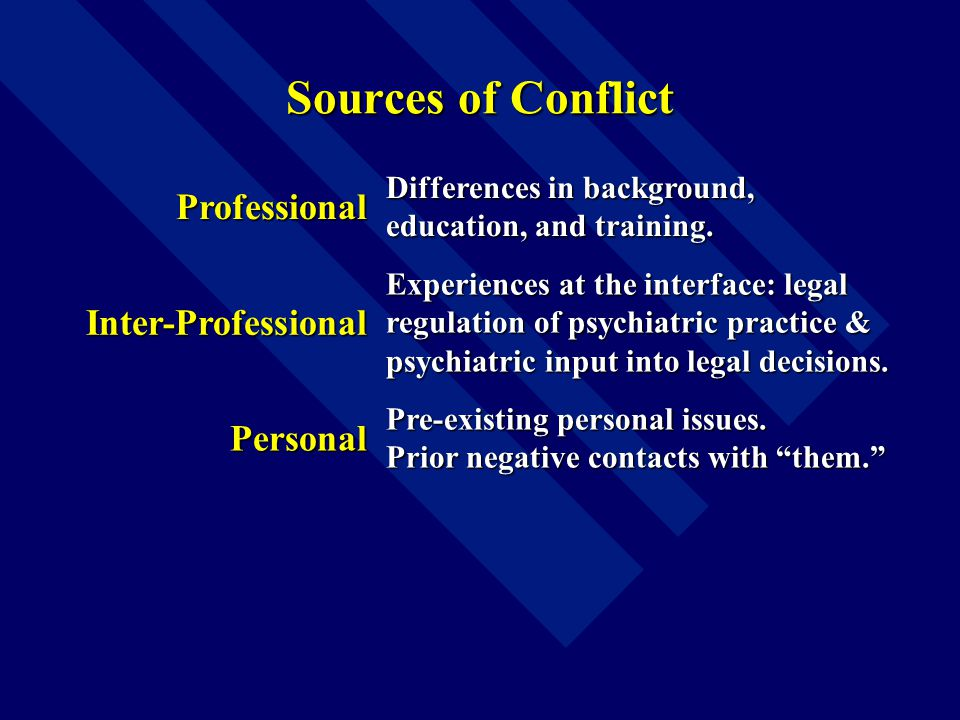 Sources of Conflict Professional Differences in background, education, and training.