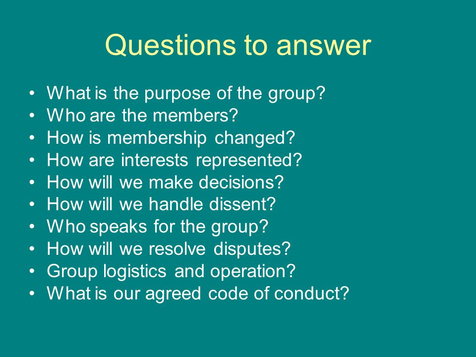 Questions to answer What is the purpose of the group.