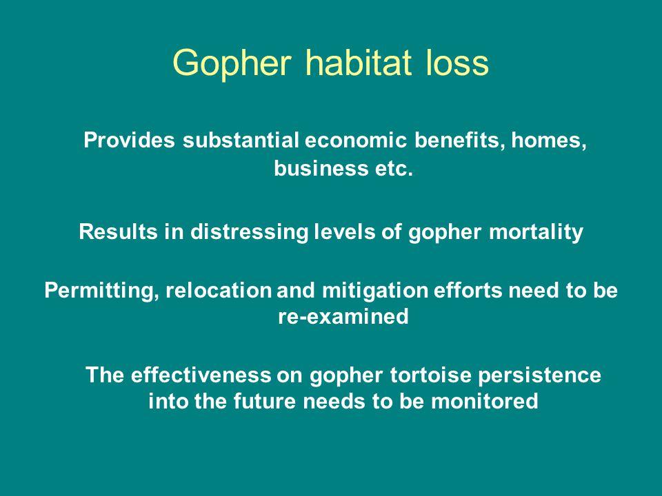 Gopher habitat loss Provides substantial economic benefits, homes, business etc.