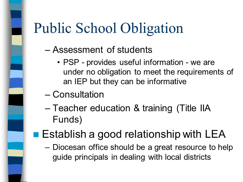 Legal Issues Section 504 of the Rehabilitation Act of 1974 –Forbids discrimination if organization receives federal funds –In LA, school lunch program through the USDA –Standard is minor adjustment; not special education –Risk is the precedent it sets for all Catholic schools Russo v.