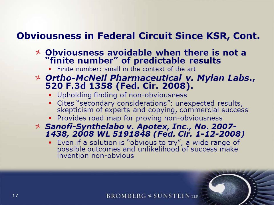 17 Obviousness in Federal Circuit Since KSR, Cont.