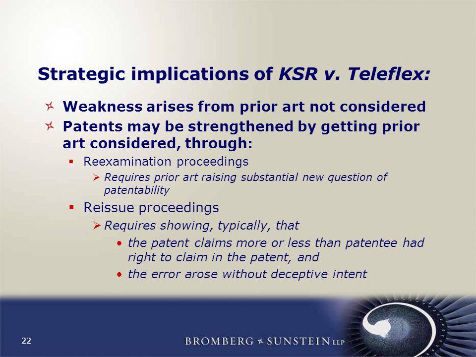 22 Strategic implications of KSR v.
