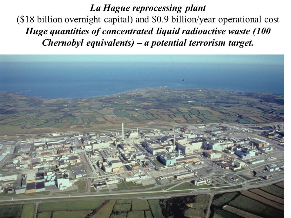 La Hague reprocessing plant ($18 billion overnight capital) and $0.9 billion/year operational cost Huge quantities of concentrated liquid radioactive