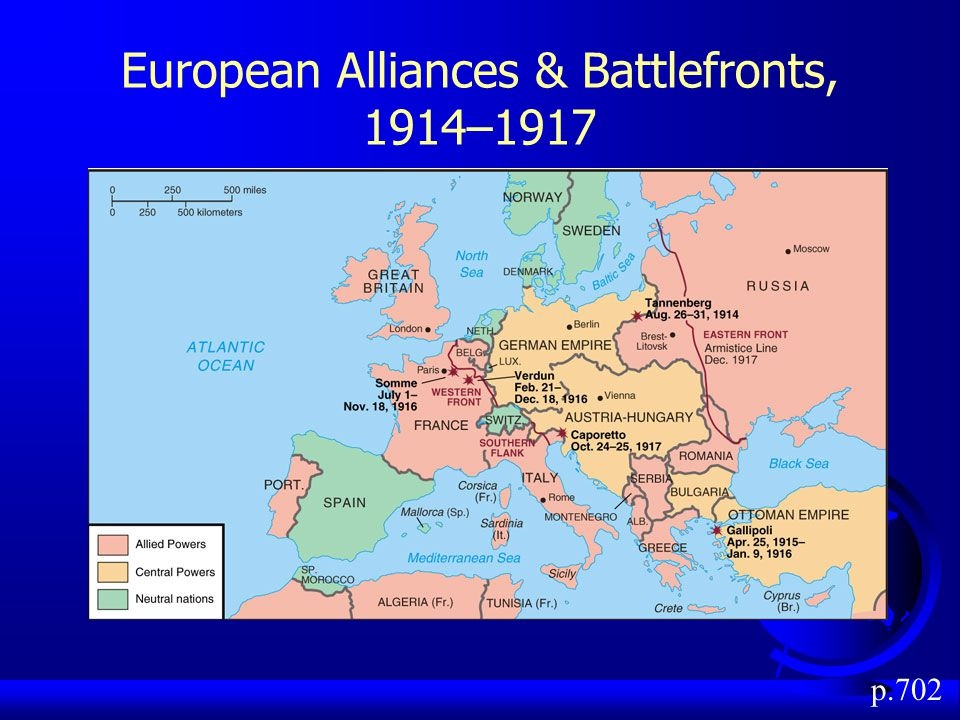European Alliances & Battlefronts, 1914–1917 p.702