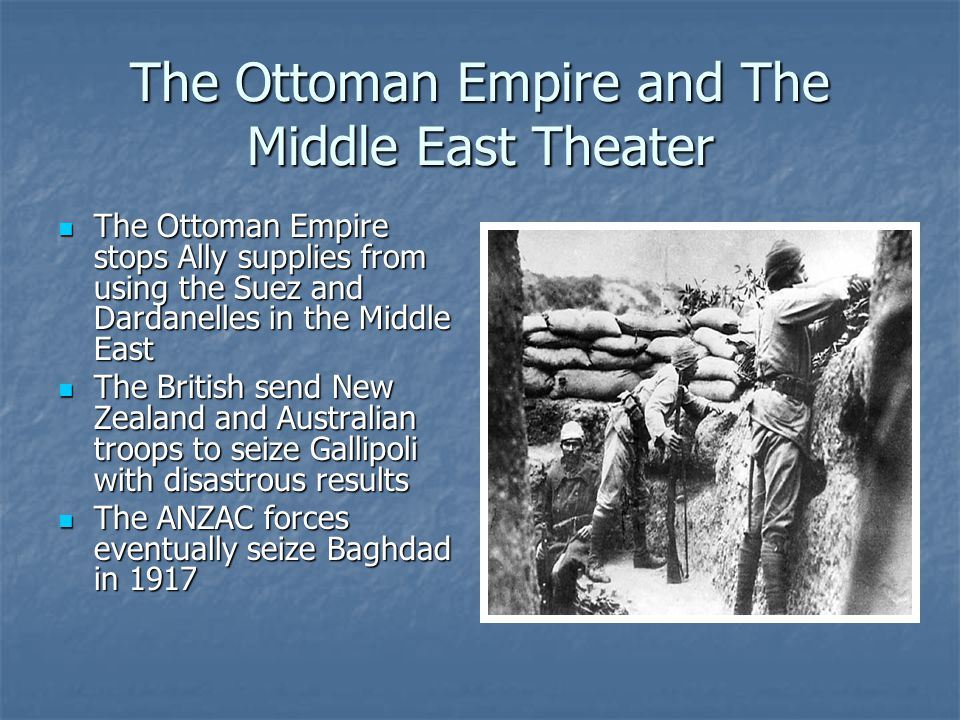 The Ottoman Empire and The Middle East Theater The Ottoman Empire stops Ally supplies from using the Suez and Dardanelles in the Middle East The Ottom