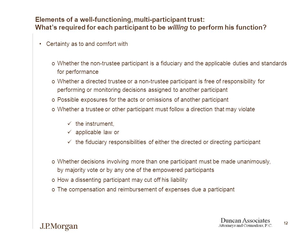 12 Elements of a well-functioning, multi-participant trust: What's required for each participant to be willing to perform his function.