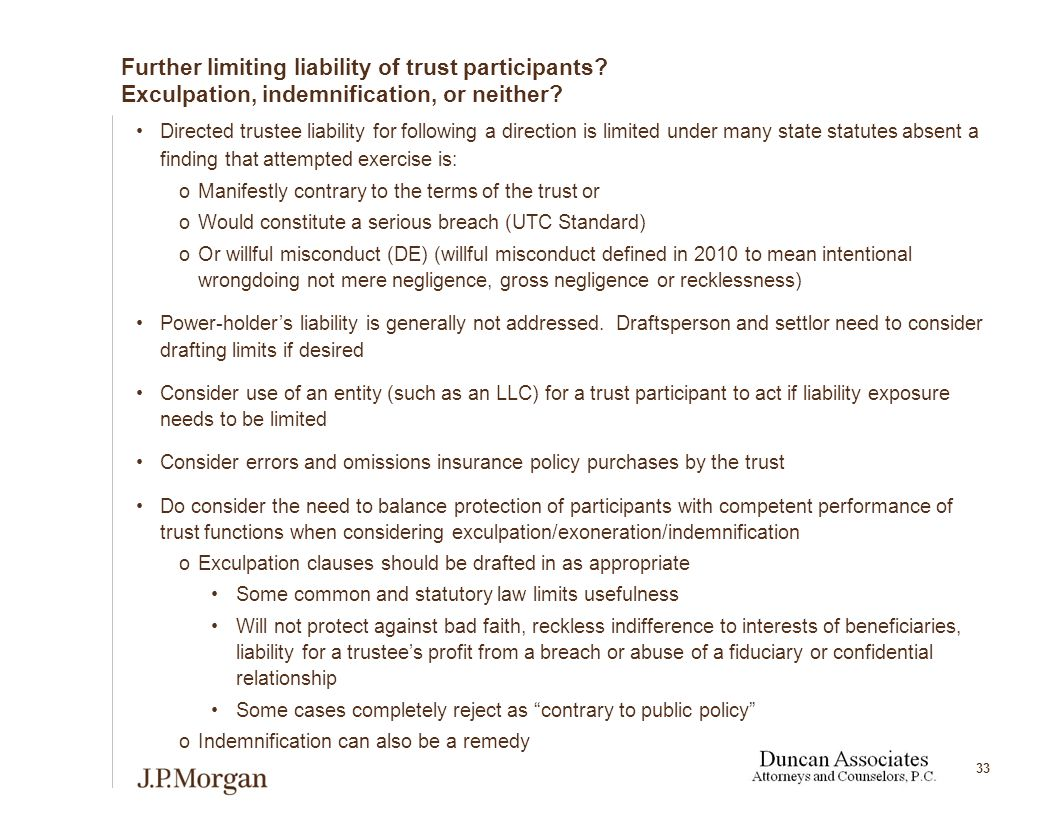 33 Further limiting liability of trust participants.