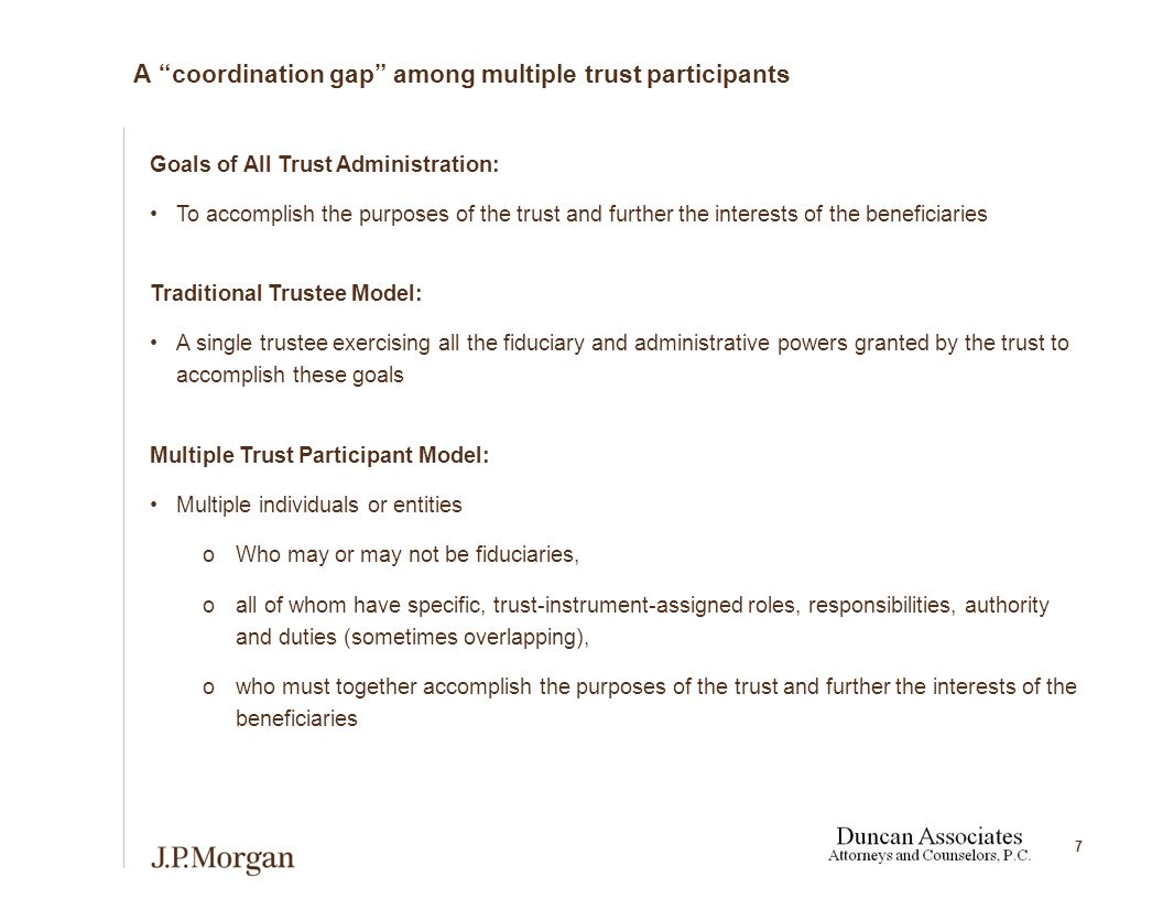 7 A coordination gap among multiple trust participants Goals of All Trust Administration: To accomplish the purposes of the trust and further the interests of the beneficiaries Traditional Trustee Model: A single trustee exercising all the fiduciary and administrative powers granted by the trust to accomplish these goals Multiple Trust Participant Model: Multiple individuals or entities oWho may or may not be fiduciaries, oall of whom have specific, trust-instrument-assigned roles, responsibilities, authority and duties (sometimes overlapping), owho must together accomplish the purposes of the trust and further the interests of the beneficiaries