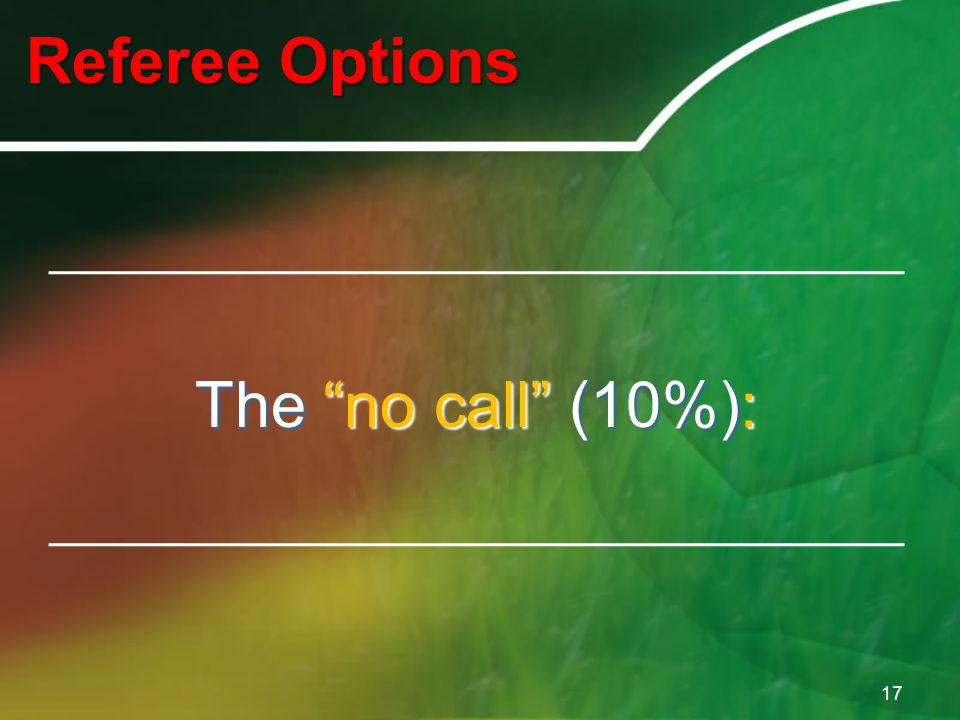 Referee Options 17 The no call (10%):