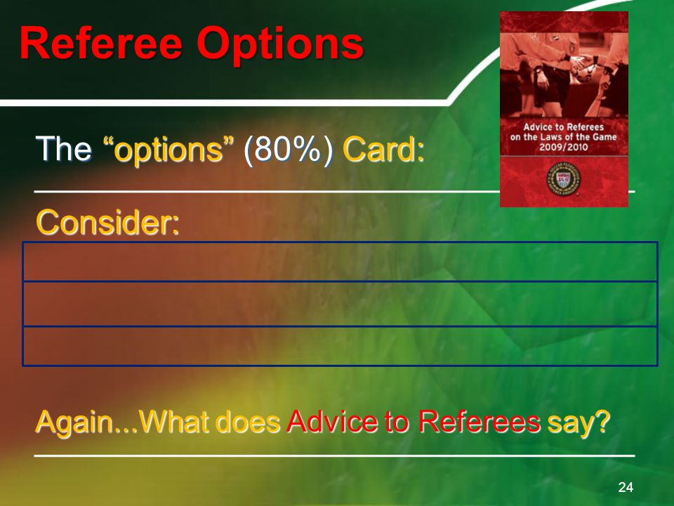 "Referee Options 24 The ""options"" (80%) Card: Consider: 1.Does the player need the card? 2.Does the game need the card? 3.Does the game need the card n"