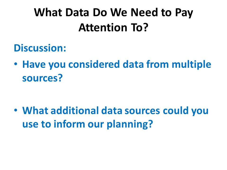 What Data Do We Need to Pay Attention To.