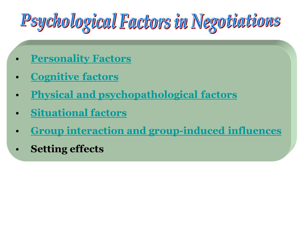 Personality Factors Cognitive factors Physical and psychopathological factors Situational factors Group interaction and group-induced influences Setting effects