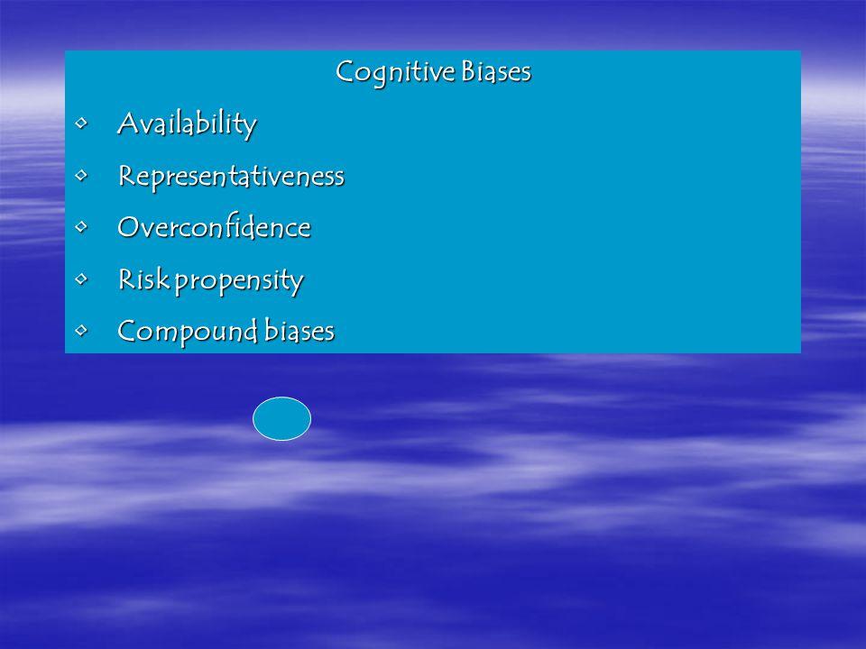 Cognitive Biases AvailabilityAvailability RepresentativenessRepresentativeness OverconfidenceOverconfidence Risk propensityRisk propensity Compound biasesCompound biases