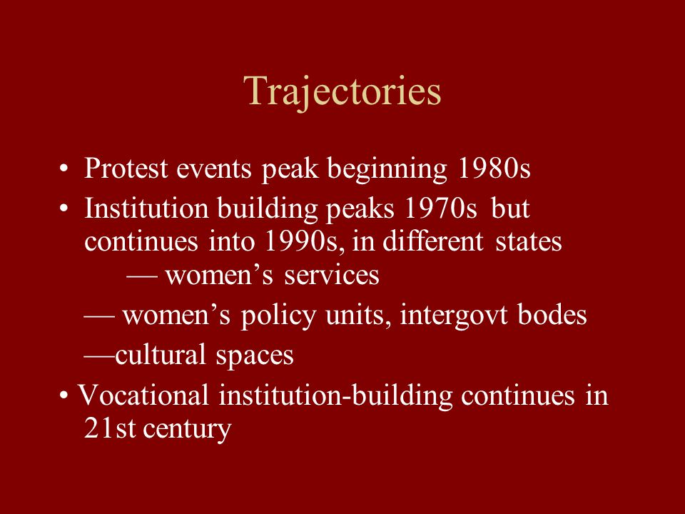 Trajectories Protest events peak beginning 1980s Institution building peaks 1970s but continues into 1990s, in different states — women's services — women's policy units, intergovt bodes —cultural spaces Vocational institution-building continues in 21st century