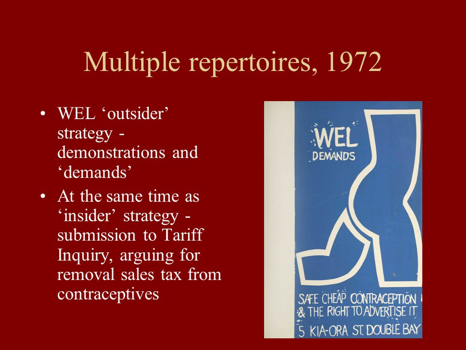 Multiple repertoires, 1972 WEL 'outsider' strategy - demonstrations and 'demands' At the same time as 'insider' strategy - submission to Tariff Inquiry, arguing for removal sales tax from contraceptives