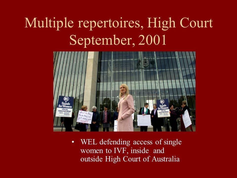 Multiple repertoires, High Court September, 2001 WEL defending access of single women to IVF, inside and outside High Court of Australia