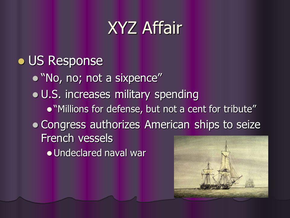 "XYZ Affair US Response US Response ""No, no; not a sixpence"" ""No, no; not a sixpence"" U.S. increases military spending U.S. increases military spending"