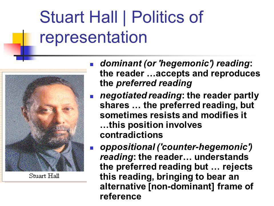 Stuart Hall | Politics of representation dominant (or 'hegemonic') reading: the reader …accepts and reproduces the preferred reading negotiated readin