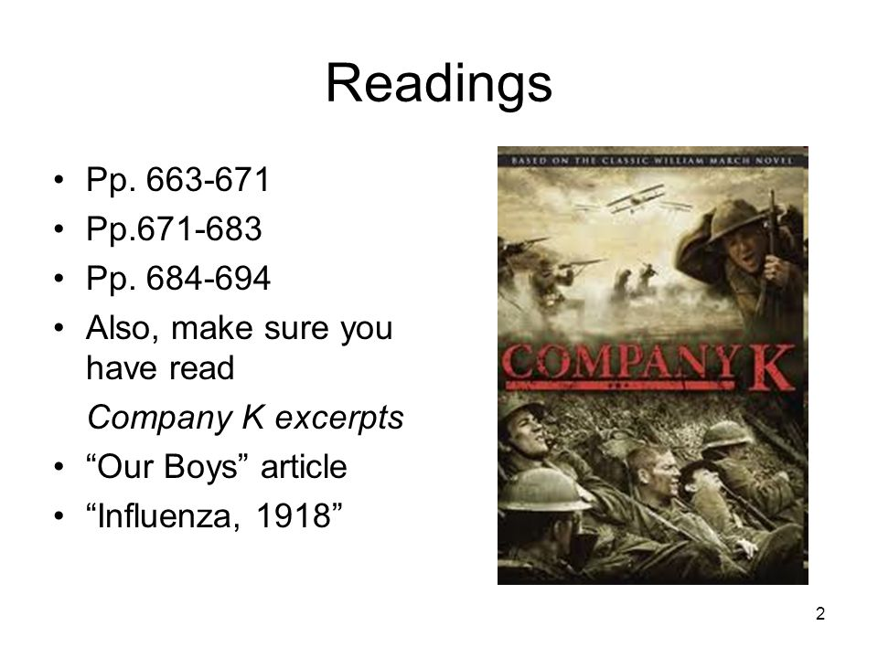 "2 Readings Pp. 663-671 Pp.671-683 Pp. 684-694 Also, make sure you have read Company K excerpts ""Our Boys"" article ""Influenza, 1918"""
