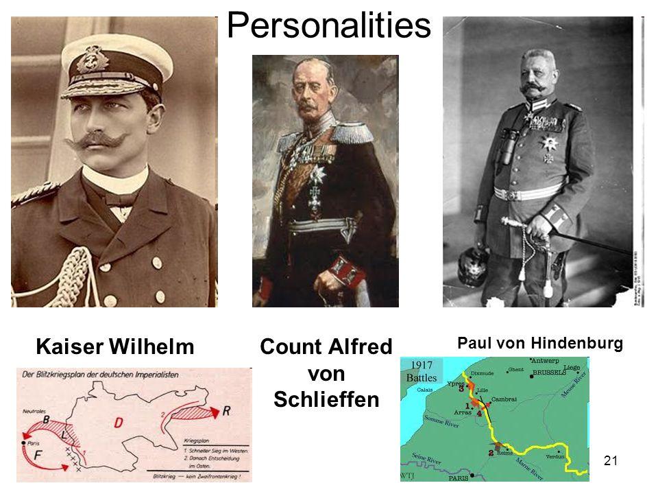 21 Personalities Kaiser WilhelmCount Alfred von Schlieffen Paul von Hindenburg