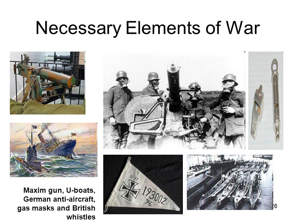 26 Necessary Elements of War Maxim gun, U-boats, German anti-aircraft, gas masks and British whistles