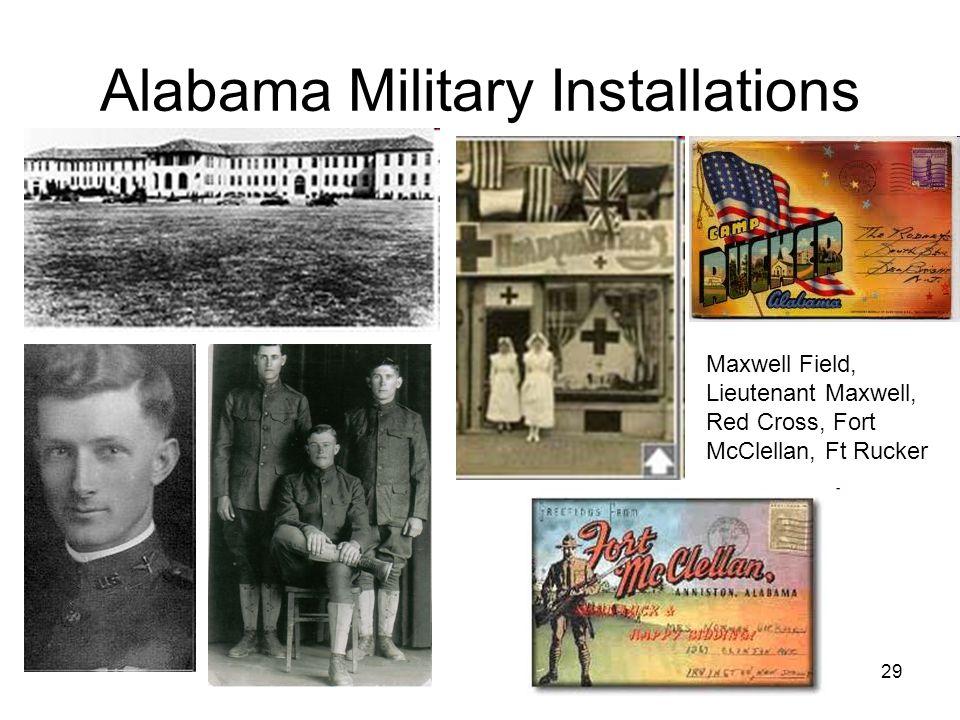 29 Alabama Military Installations Maxwell Field, Lieutenant Maxwell, Red Cross, Fort McClellan, Ft Rucker