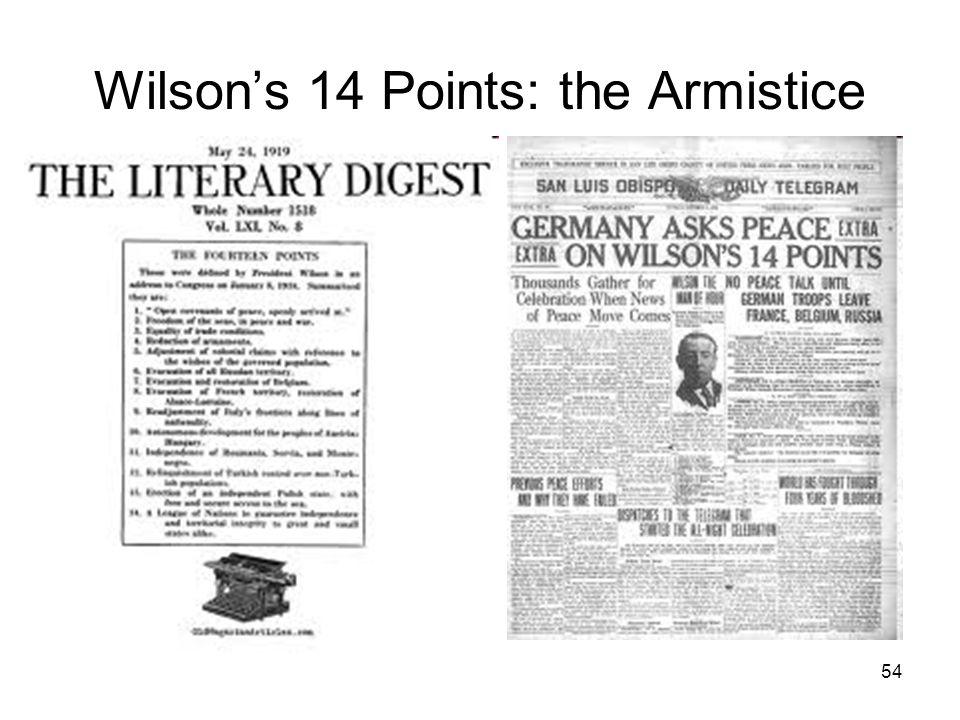 54 Wilson's 14 Points: the Armistice