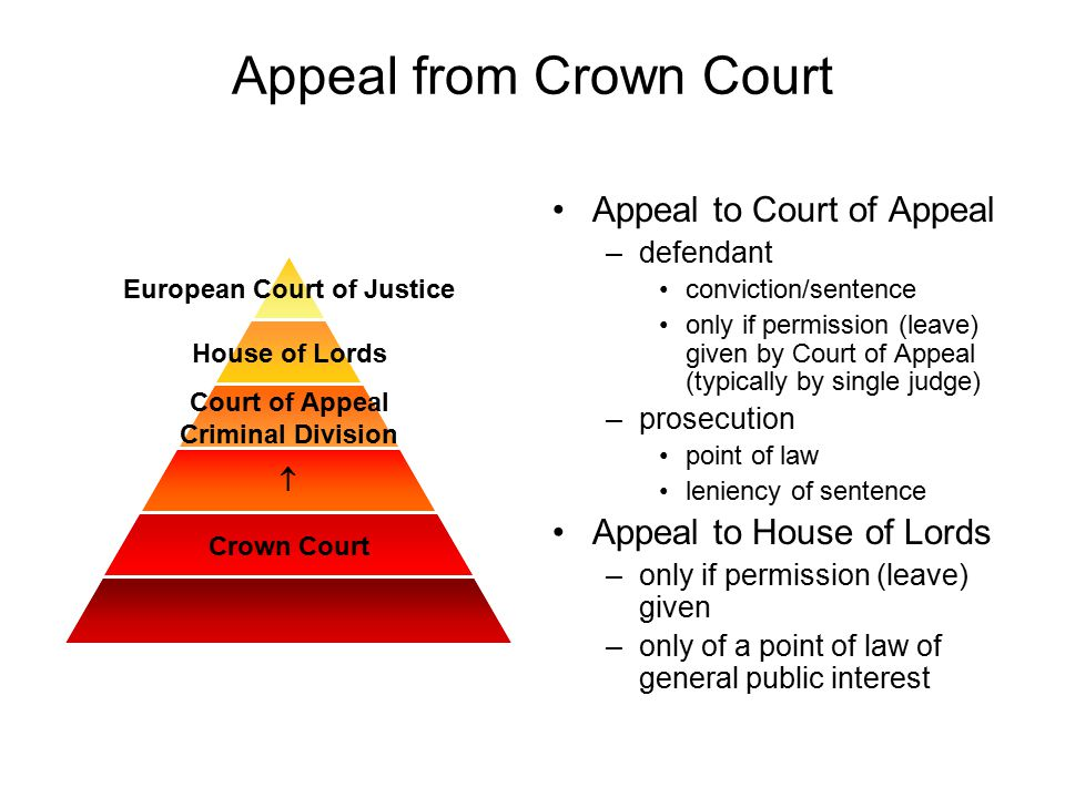 Appeal from Crown Court Appeal to Court of Appeal –defendant conviction/sentence only if permission (leave) given by Court of Appeal (typically by sin