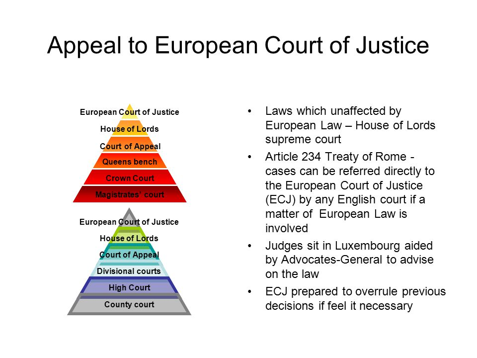 Appeal to European Court of Justice Laws which unaffected by European Law – House of Lords supreme court Article 234 Treaty of Rome - cases can be ref