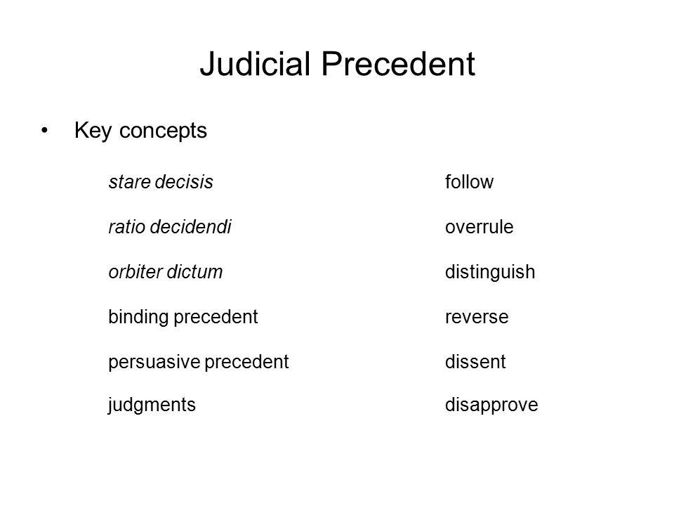 Judicial Precedent Key concepts stare decisisfollow ratio decidendioverrule orbiter dictumdistinguish binding precedentreverse persuasive precedentdis