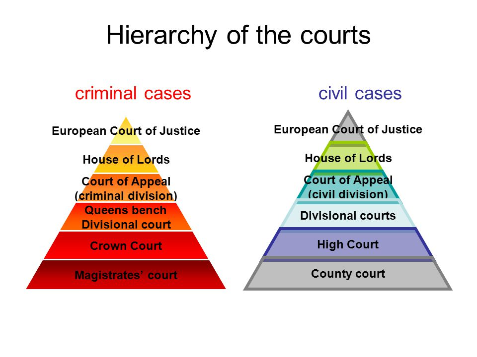 Hierarchy of the courts criminal cases civil cases Europea n Court of Justice House of Lords Court of Appeal (criminal division) Queens bench Division