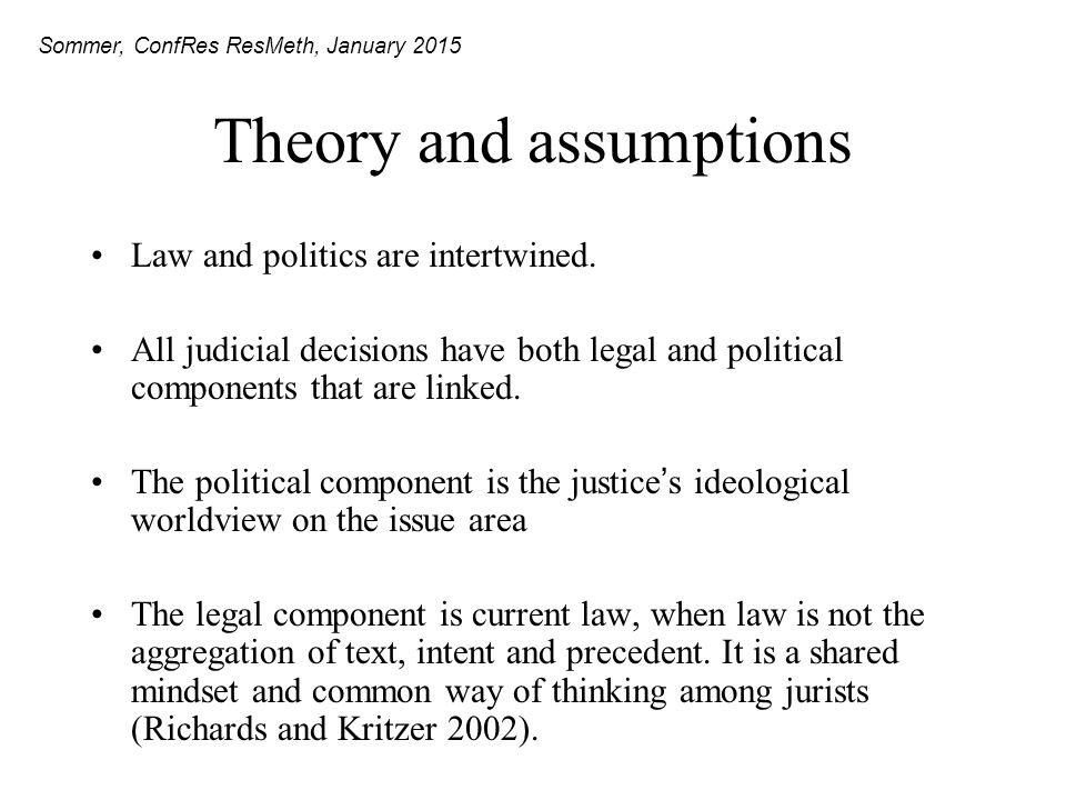 Theory and assumptions Law and politics are intertwined.