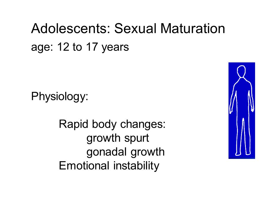 Adolescents: Sexual Maturation age: 12 to 17 years Physiology: Rapid body changes: growth spurt gonadal growth Emotional instability