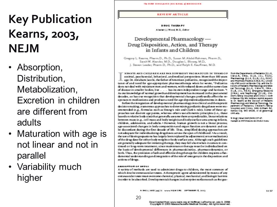 Key Publication Kearns, 2003, NEJM Absorption, Distribution, Metabolization, Excretion in children are different from adults Maturation with age is no