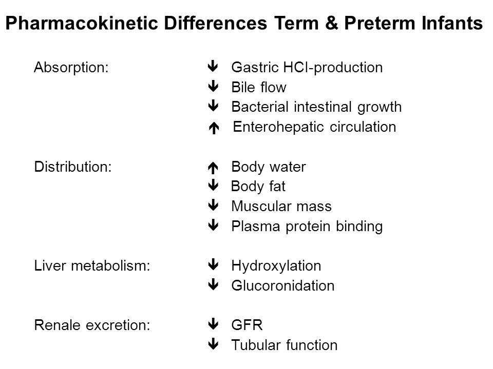 Pharmacokinetic Differences Term & Preterm Infants Absorption:  Gastric HCI-production  Bile flow  Bacterial intestinal growth  Enterohepatic circulation Distribution:  Body water  Body fat  Muscular mass  Plasma protein binding Liver metabolism:  Hydroxylation  Glucoronidation Renale excretion:  GFR  Tubular function