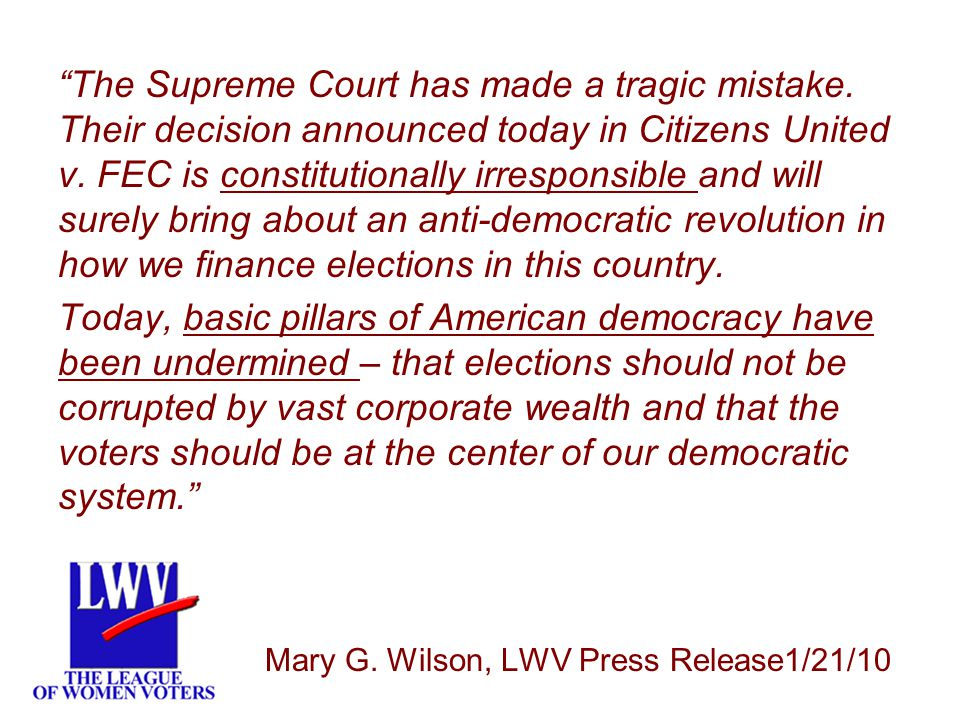 LWV The Supreme Court has made a tragic mistake.