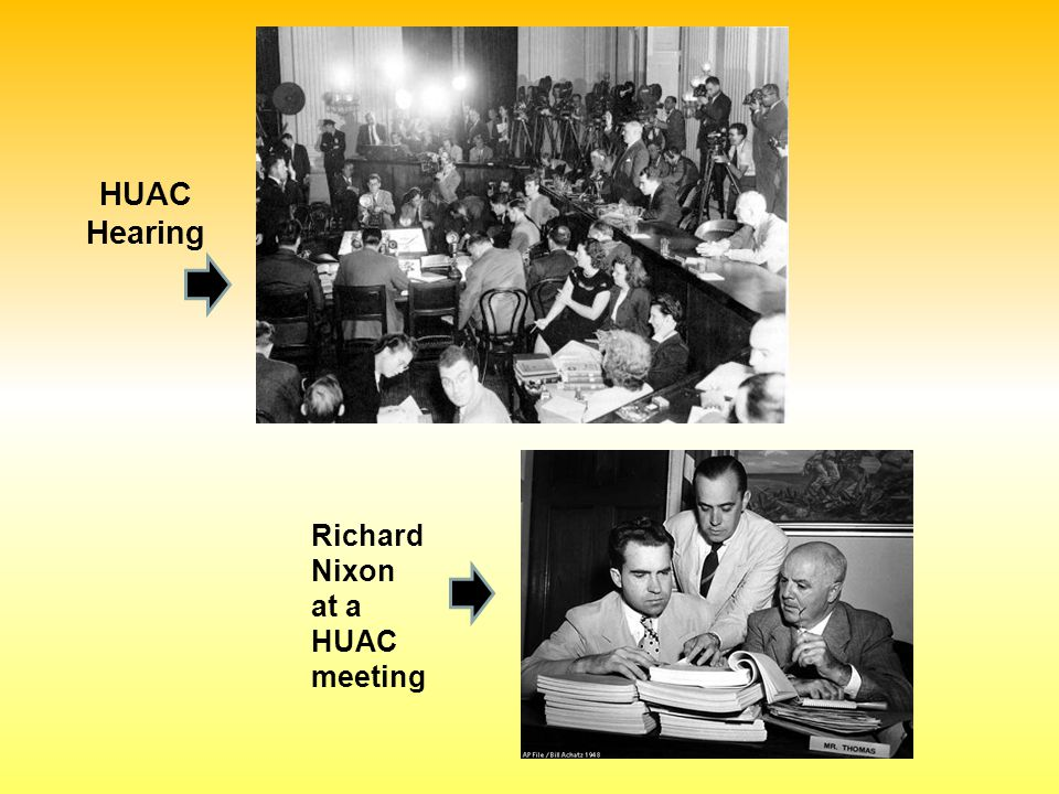HUAC Hearing Richard Nixon at a HUAC meeting