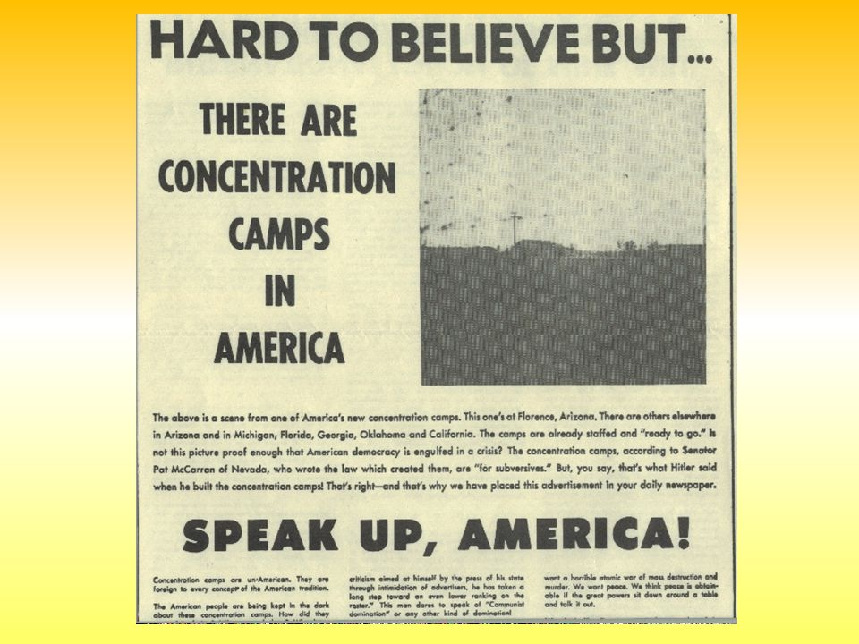 Say, what ever happened to freedom- from-fear ? August 13, 1951 As Senator Joseph McCarthy s campaign against the State Dept.