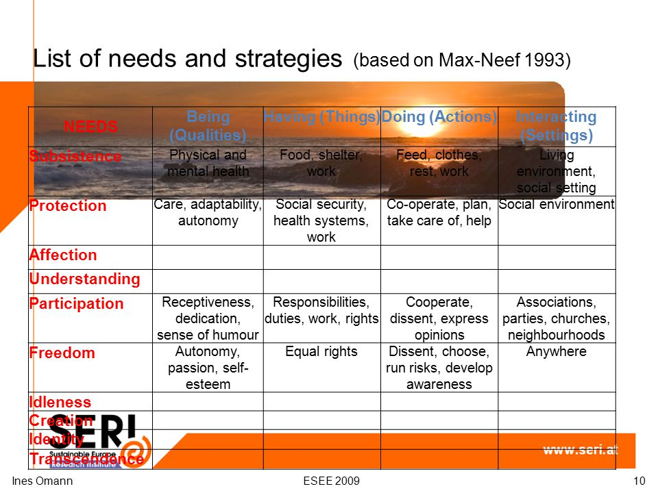 List of needs and strategies (based on Max-Neef 1993) Ines OmannESEE 200910 NEEDS Being (Qualities) Having (Things)Doing (Actions)Interacting (Setting