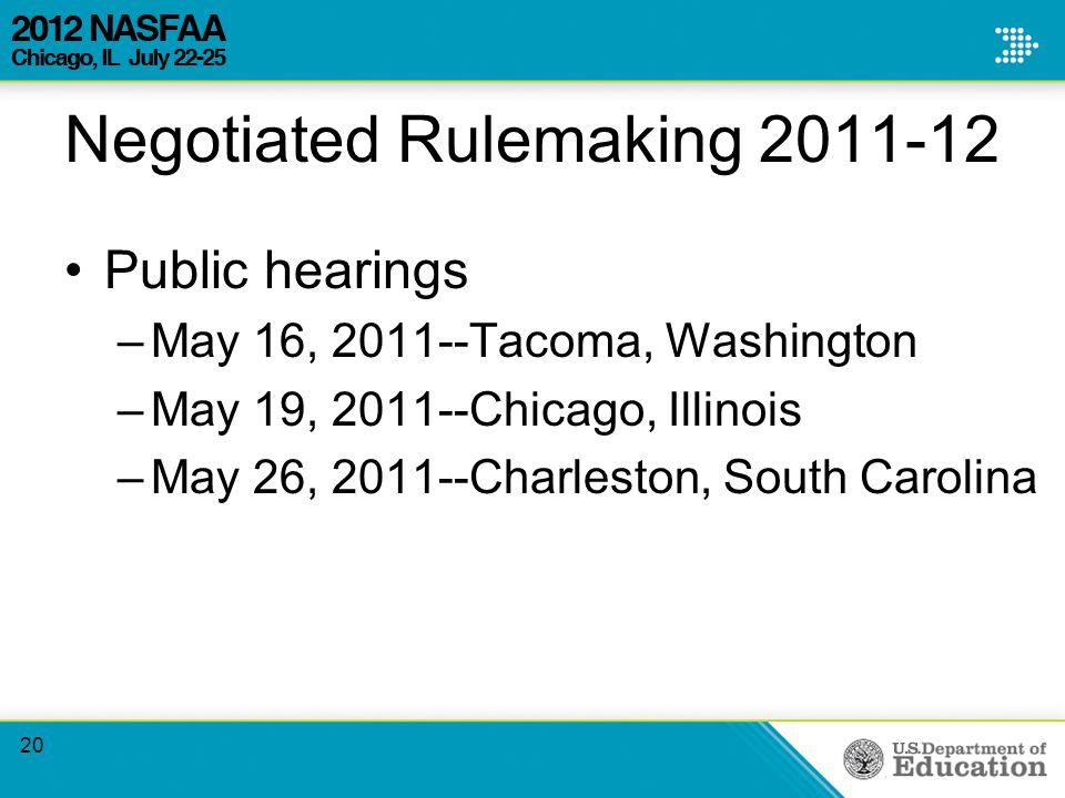 Negotiated Rulemaking 2011-12 Public hearings –May 16, 2011--Tacoma, Washington –May 19, 2011--Chicago, Illinois –May 26, 2011--Charleston, South Carolina 20