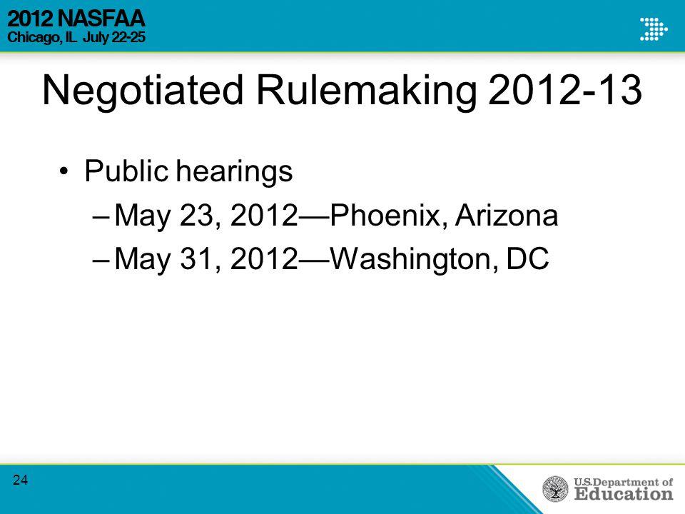 Negotiated Rulemaking 2012-13 Public hearings –May 23, 2012—Phoenix, Arizona –May 31, 2012—Washington, DC 24